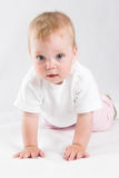 Angel baby. Child sits. Soft, over white Royalty Free Stock Photos