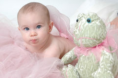 Angel Baby. Beautiful baby with blue eyes wearing fairy wings or angel wings. Little stuffed green frog toy put in Royalty Free Stock Photos