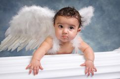 Angel Baby. Hispanic baby girl with funny look on her face and wearing angel wings in a studio Royalty Free Stock Photography