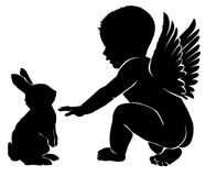 Angel baby with Easter bunny.  Stock Photos