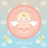 Angel Baby mignon avec la bouteille à lait illustration libre de droits