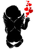 Angel baby with red hearts. Angel baby silhouette with red hearts Royalty Free Stock Photos