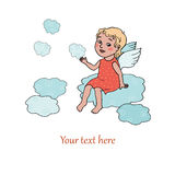 Angel baby sitting on clouds royalty free illustration