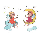 Angel baby sitting on the moon and clouds Royalty Free Stock Image