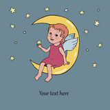 Angel baby sitting on the moon. Cute illustration in cartoon style on dark background with stars. Place for your text Stock Photography