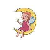 Angel baby sitting on the moon. Cute illustration in cartoon style on white background Stock Photo