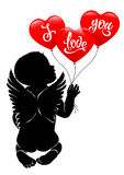 Angel baby and three red balloon I love you Royalty Free Stock Images
