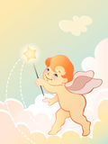 Angel baby with wand. Vector iIllustration of a angel baby with wand Royalty Free Stock Photos
