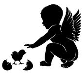 Angel baby with wings Easter chick.  Royalty Free Stock Photography