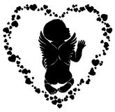Angel baby with wings in hearts. Angel baby silhouette with wings in hearts Royalty Free Stock Photos