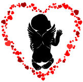 Angel baby with wings in red hearts. Angel baby silhouette with wings in red hearts Vector Illustration