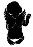 Angel baby with wings. Angel baby silhouette with wings Stock Photography