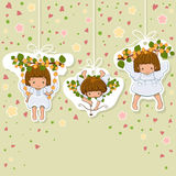 Angel background. Valentines Card. Set of little angels icons. Angels background with copyspace Stock Photography