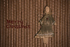 Angel on background of reed mat. Christmas greeting with angel on background of reed mat Royalty Free Stock Photography