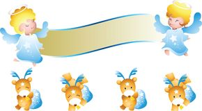 Angel banner and deer Stock Photography