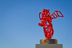 Angel Bear. The sculpture of a red bear with wings, by french artist Richard Texier, placed temporarily on the Tour de la Chaine, La Rochelle, France Stock Photography