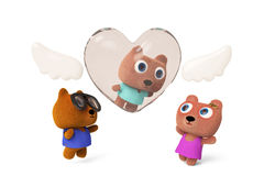 Angel Bear fall in world 3D rendering. Badby Bear in  a love angel.Papa Bear and Mama Bear greet the baby on the ground.3D rendering Royalty Free Stock Photos