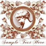 Angel. Beautiful frame with a flower ornament. Stock Images
