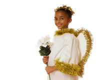 Angel Beauty. Beautiful biracial child in angel costume, holding a bouquet of white poinsettias.  Isolated on white Stock Photos