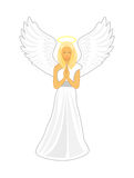 Angel with big white wings and a golden halo over her head. Vector cartoon image of a female angel. Angel with big white wings and a golden halo over her head Royalty Free Stock Photo