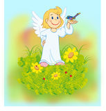Angel 02. Angel with bird Royalty Free Stock Photo