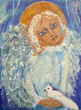 Angel with bird. Original acrylic painting on canvas.  Royalty Free Stock Photo
