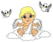 Angel and birds vector illustration