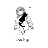 Angel and black cat on a white background. Hand drawn vector illustration Stock Images
