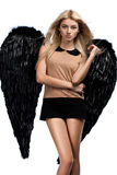 Angel with black wings Royalty Free Stock Photography