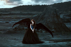 Angel with black wings Stock Images