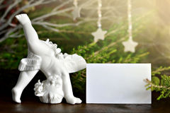 Angel and blank Christmas card Stock Images