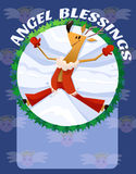 Angel Blessings Deer Cartoon Illustration. Raster drawn illustration in cartoony style. Merry Christmas & Happy New Year Card Royalty Free Stock Images