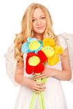 Angel Blond With Funny Flowers Royalty Free Stock Photo