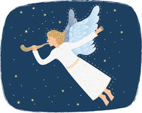 Angel blowing the shofar. Angel flying and blowing the shofar Stock Photo