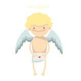Angel boy character. Blond angel boy, cartoon character with mail with red heart on white background Stock Photo