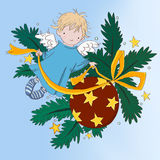 Angel boy holiday card. Angel boy christmas, New Year card with decoration ball on christmas tree vector illustration