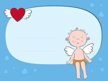 Angel Boy by letter. Valentine's Day postcard. Angel Boy by letter Royalty Free Stock Image