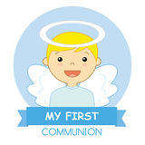 Angel boy. My first communion card Royalty Free Stock Photo