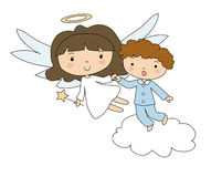 Angel and the boy in pajamas Royalty Free Stock Photography