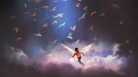 Angel boy playing a glowing ball. Boy with angel wings holding a glowing ball running through group of birds, digital art style, illustration painting royalty free illustration
