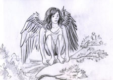 Angel on the branch. Angel girl sitting on the branch like a bird. Pencil drawing, sketch Royalty Free Stock Images