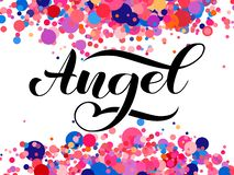 Angel brush lettering for clothes, card or poster. Vector illustration royalty free stock photography