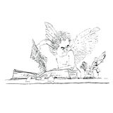 Angel bureaucrat pulls out a page from the book Stock Photos