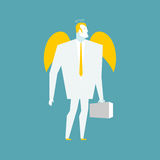 Angel businessman. Cherub paradise manager.  Guardian Angel for Stock Photo