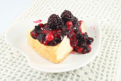 Angel Cake with berry sauce Royalty Free Stock Photos