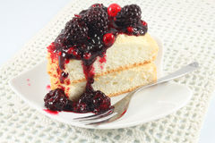 Angel Cake with berry sauce Stock Photo