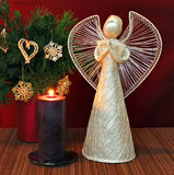 Angel and candle Royalty Free Stock Images