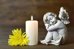 Angel, candle and flower. On wooden background Stock Images