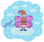 Angel in the cap. Angel with pink wings like a butterfly in the cap and shoes stands on a cloud in the blue sky Stock Photography