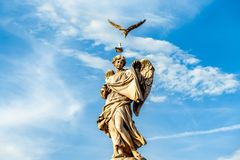 Angel at Castel Sant`Angelo`s Bridge royalty free stock image